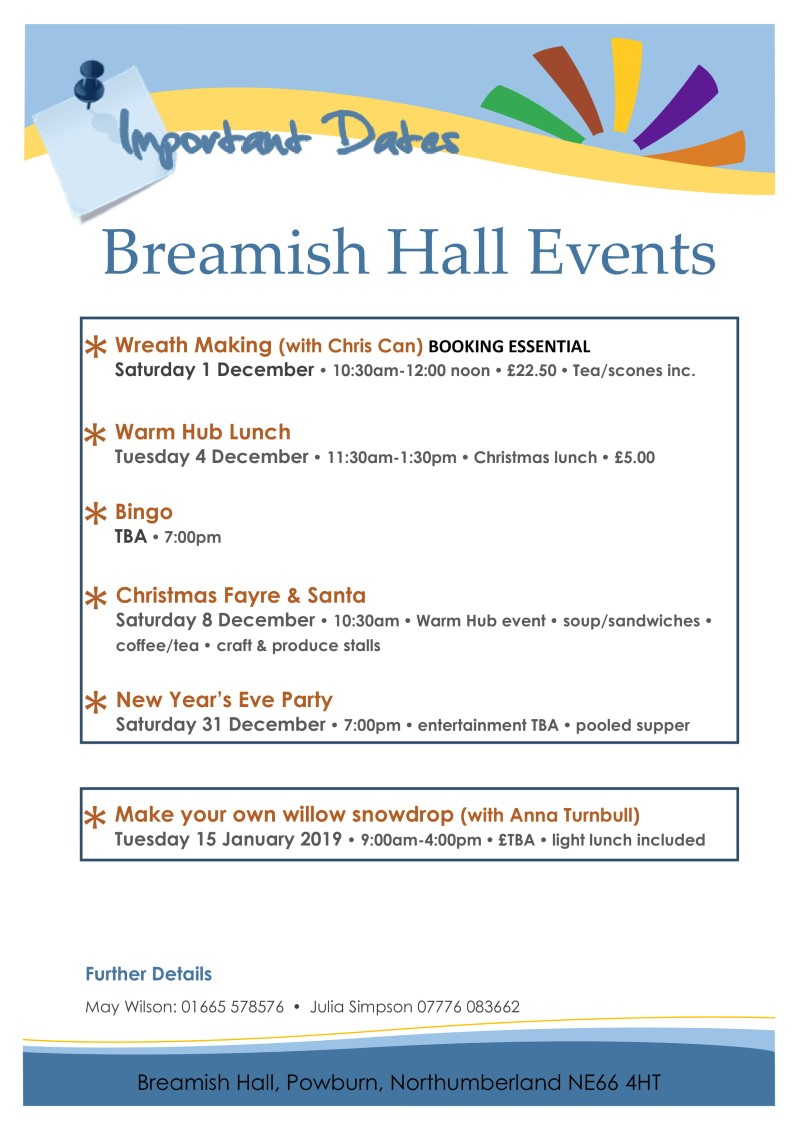 Breamish Hall Events Dec 2018-Jan 2019 (version 2.0)
