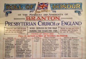 Branton Presbyterian Church Roll of Honour c. Robbie Burn 2017