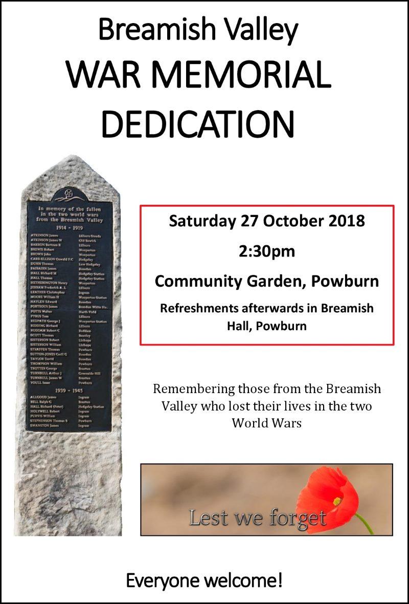 Breamish Valley War Memorial Dedication poster