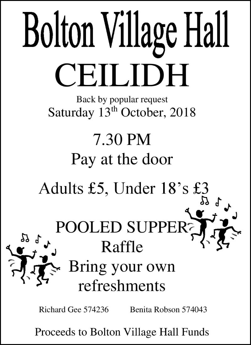Ceilidh Bolton Village Hall 2018 poster