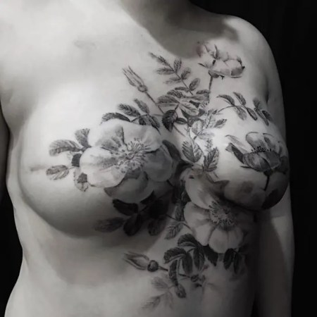 Eight inspiring mastectomy tattoos   Breast Cancer Care Floral breast reconstruction tattoo