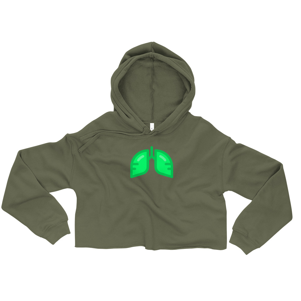 Neon Green Icon Crop Hoodie
