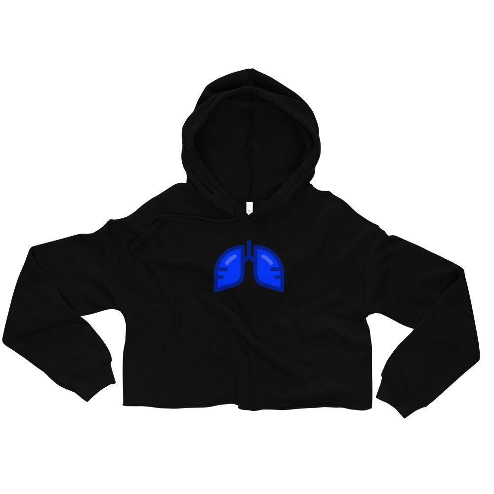 Neon Blue Icon Crop Hoodie