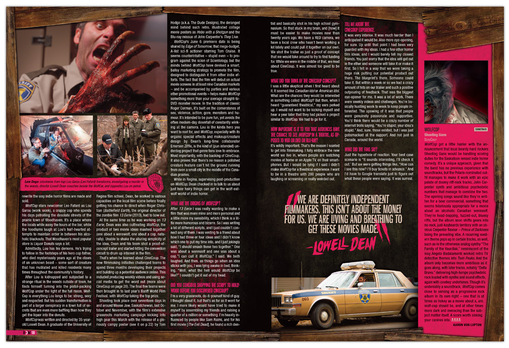 Editorial Design, Layout, Graphic Design, WolfCop, Horror, Magazine, Howl Of Justice, Rue Morgue Magazine, Design