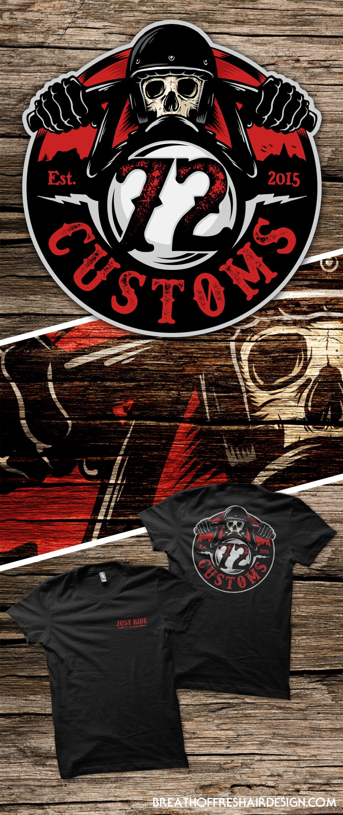 72 Customs, Logo, Illustration, Design, Motorcycles, Choppers, Skull, Graphic Design, Toronto, Custom Art, T-Shirt Design