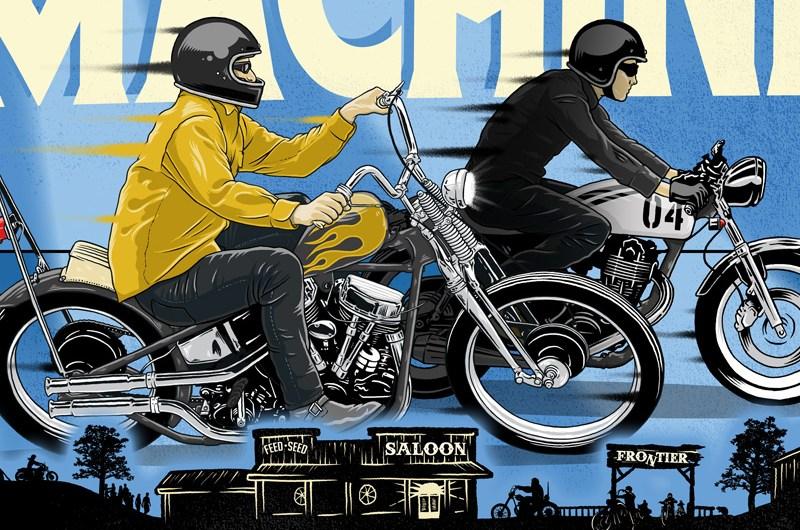 Freedom Machine Show, Poster, Illustration, Chopper, Custom, Motorcycle, Antique, vintage, Ontario, Bike, FTW