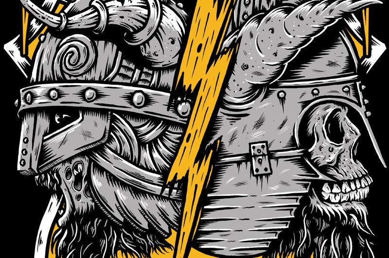 Metal Hammer, Paradise Festival, Tshirt Design, Illustration, Skull, Viking, Heavy Metal, Metal, Bands, Festival, Design, Germany, Toronto, Ontario, Graphic Design, Zombie, Shield