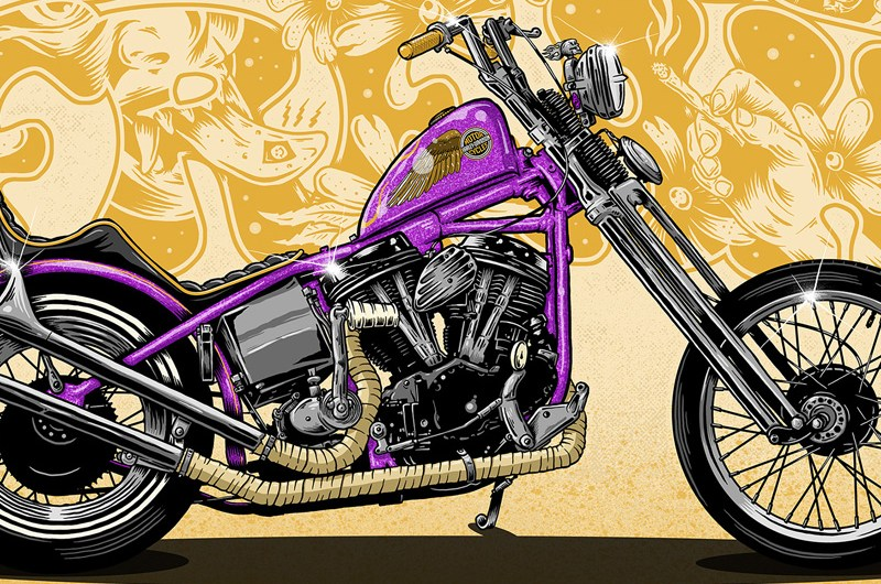 Hippie Freak, Illustration, Drawing, Art, Graphic Design, Chopper, Motorcycle, Harley Davidson, Hippie, Weed, Skeleton, LSD, Beers, Tittie Bar, Purple Haze, Custom Art, Custom Motorcycle, Toronto, Ontario, Canada, Illustrator, Graphic Designer, Digitial Illustration, Poster