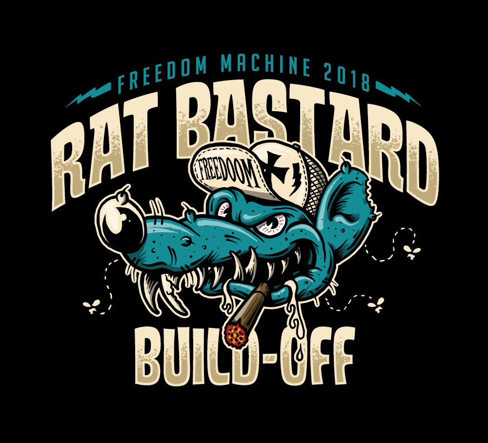 Rat Bastard Build off, Rat, Cigar, Freedom Machine Show, Motorcycle, Chopper, Custom, Vintage, Motorcycle, cap, Freedoom, Illustration, Graphic Designer, Illustrator, Toronto, Canada, Breath Of Fresh Air Design, BOFADesign