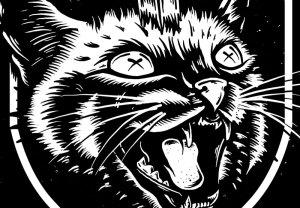 Nine Lives, Rolling Chaos, Illustration, Toronto Illustrator, Graphic Design, Art, Tshirt, Tee illustration, Cat, Dagger, Rat, Emblem, Canada, Breath Of Fresh Air Design, Kustom Art, Motorcycles, Built To Be Destroyed, Chopper, Graphic Design, Tattoo