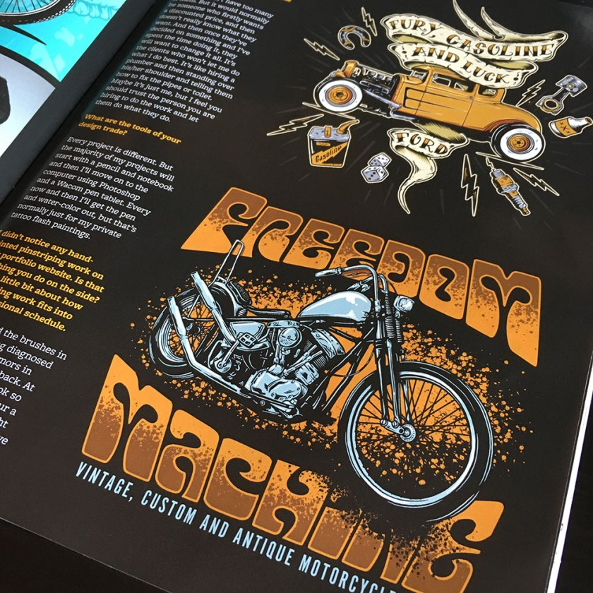 Gnarly Magazine, Andrew Wright, Breath Of Fresh Air Design, Kustom Art, Illustrator, Interview, Graphic Designer, Toronto, Artist, Digital Art, Hot Rods, Choppers, Motorcycles, Punk Rock, Chopper Art. Motorcycle Art, Pinstriping, Rolling Chaos