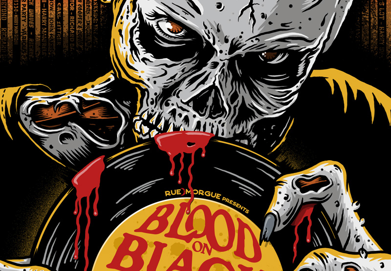 Blood On Black Wax, Book Cover, Book Cover Illustration, Zombie, Record, Vinyl, Horror, Horror Soundtrack, Music, Art, Illustration, Graphic Design, Toronto, Breath Of Fresh Air Design, Canada, Illustrator, Blood, Scary, Evil, Art