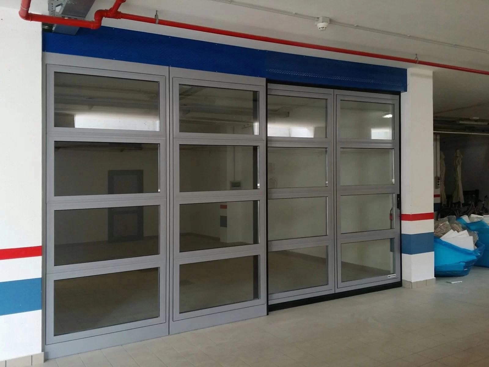 Portone scorrevole industriale ATLANTE - Grigio RAL 9006 con vetrature