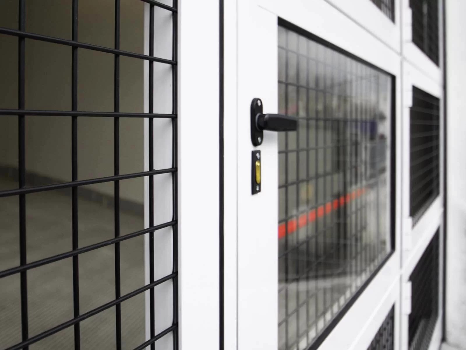 Portone sezionale vetrato LUXOR - Bianco C81 con griglia