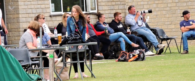 Spectators at this afternoon's friendly between Bredon Cricket Club and Bredon AFC
