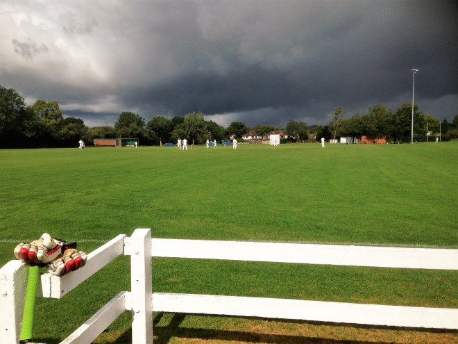 Dark skies at Fiveways Old Edwardians, where showers sent Bredon Second XI for an early tea