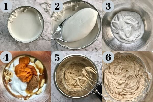 6 images of the steps involved in making pumpkin whipped cream.