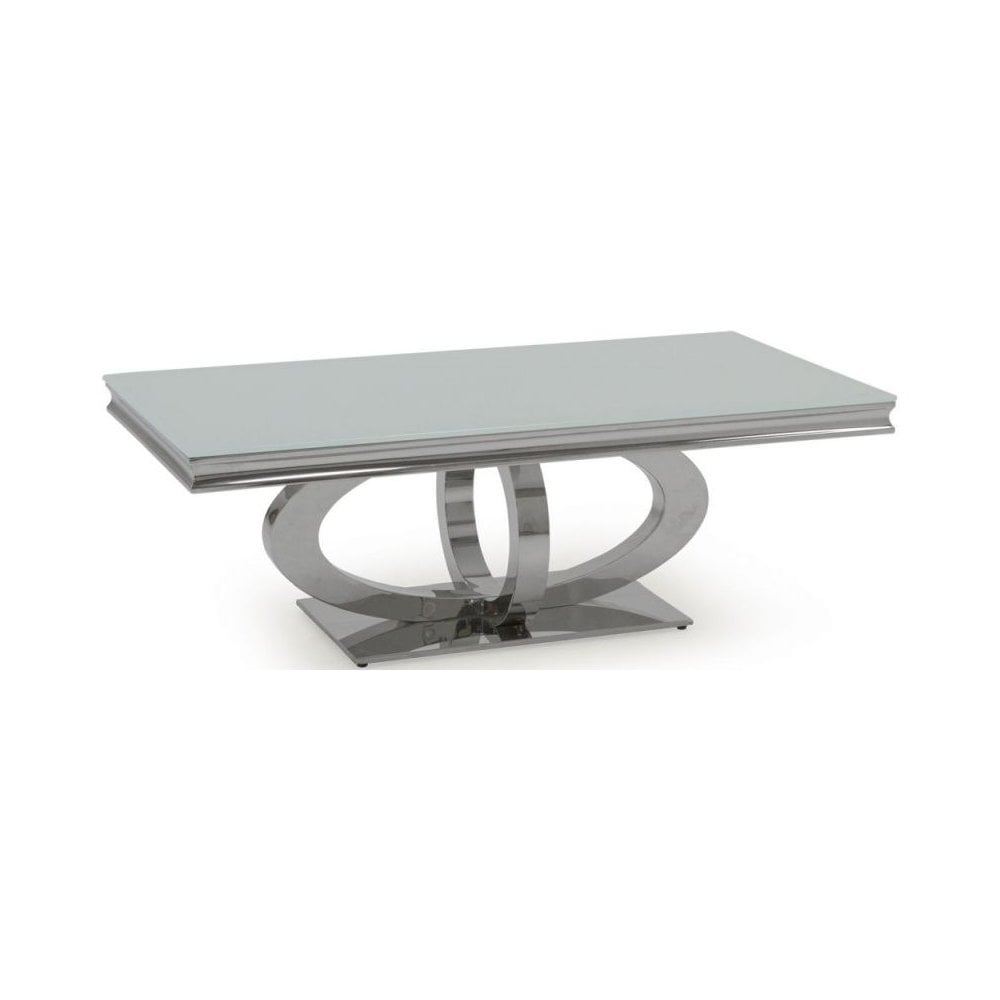orion white glass top coffee table 130cm