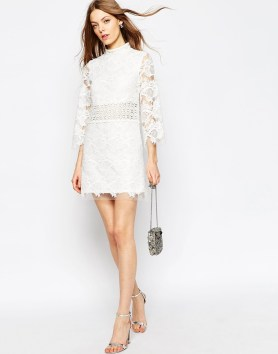 Embroidered Lace Mini Shift Dress