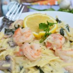 A tangy and creamy gluten free pasta dish loaded with fresh shrimp, mushrooms and basil. A hint of garlic and splash of lemon juice take this dish to the next level!