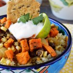 A quick and easy 30 minute meal with these Gluten Free Southwest Sweet Potato Quinoa Bowls. Healthy quinoa topped with crispy sweet potatoes and a limey mixture of fresh corn, black beans, and tender onions.
