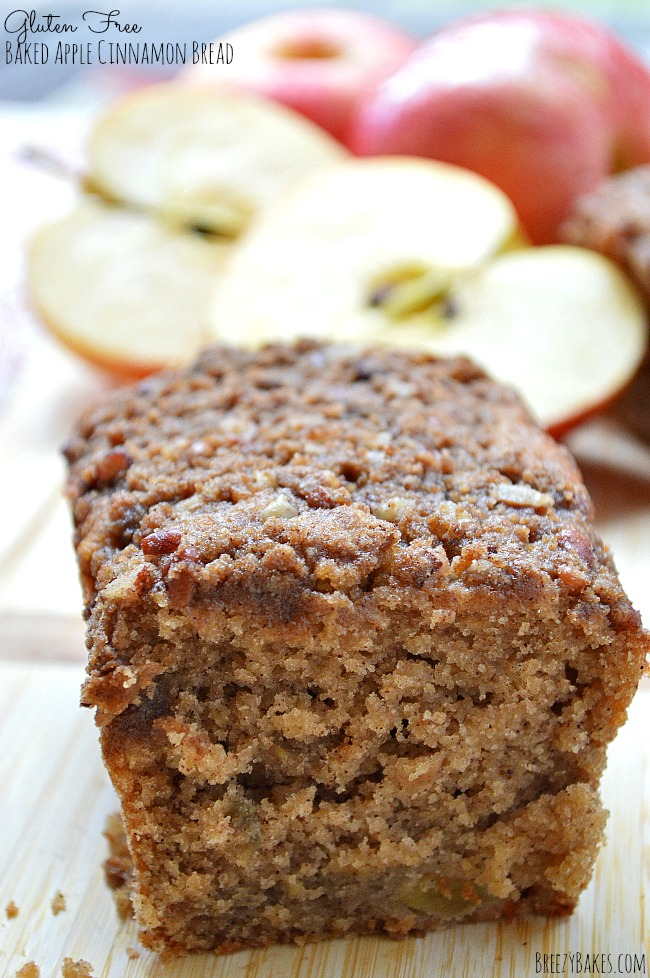 A true crowd pleaser, this Gluten Free Baked Apple Cinnamon Bread will be the first goody to go! Warm spices baked with sweet apples give this quick bread wonderful flavor and texture.