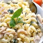 Gluten Free Chicken and Spinach White Cheddar Pasta