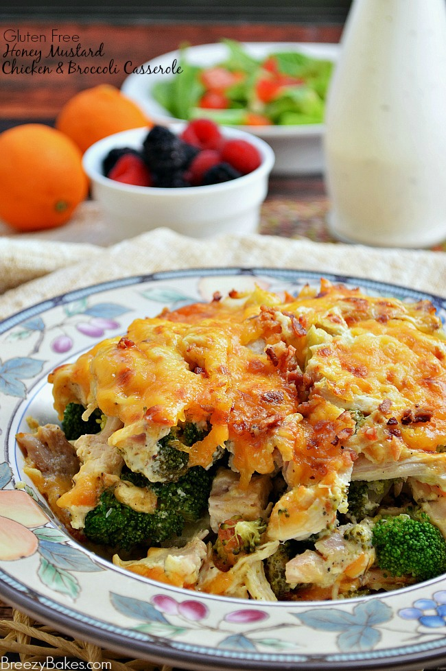 Rich and creamy homemade honey mustard sauce adds a flavorful twist to this quick and easy Gluten Free Honey Mustard Chicken Broccoli Casserole.