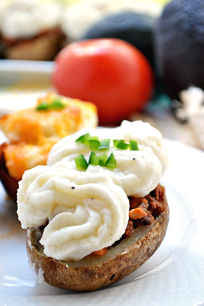 For a meaty main dish or a twist on a traditional appetizer, try these flavorful Gluten Free Sheppard's Pie Twice Baked Potatoes.