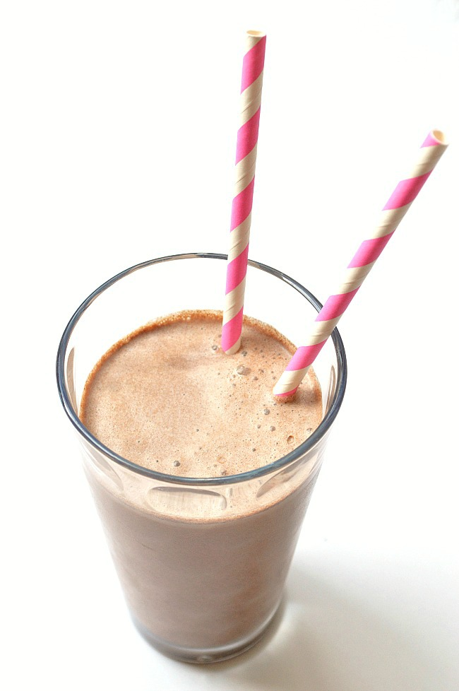 Trick your kids (or yourself) into a refreshing, protein packed beverage with this Healthy Chocolate Milk. There is no refined sugar and depending on your dairy choice, it's low in fat. Cheers!