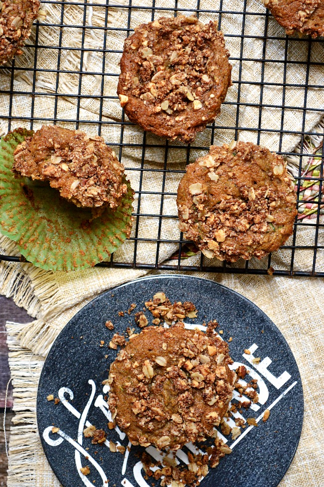 Enjoy a moist and healthy muffin for your breakfast pick me up with these Gluten Free Zucchini Breakfast Muffins with Almond Oat Streusel.