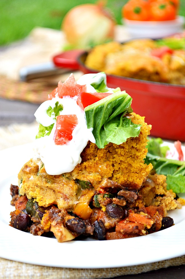 Try a twist on tamale pie with this Fall favorite Gluten Free Vegetarian Cornbread Skillet. It's one pot comfort food at its finest!