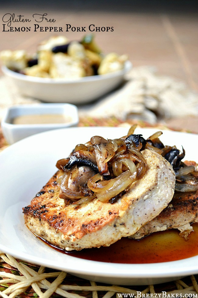 Gluten free lemon pepper pork chops breezy bakes perfectly cooked lemon pepper pork chops in a cast iron skillet make for quite the savory ccuart Choice Image