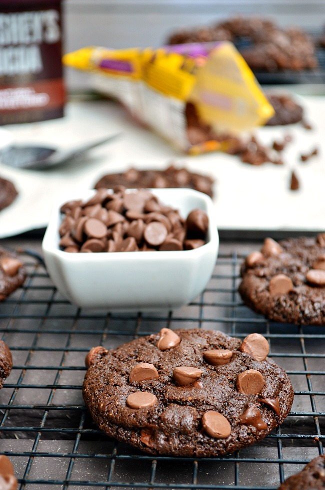 It's all about fudgy decadence with these Gluten Free Double Chocolate Chocolate Chip Cookies. Get your dunk on!
