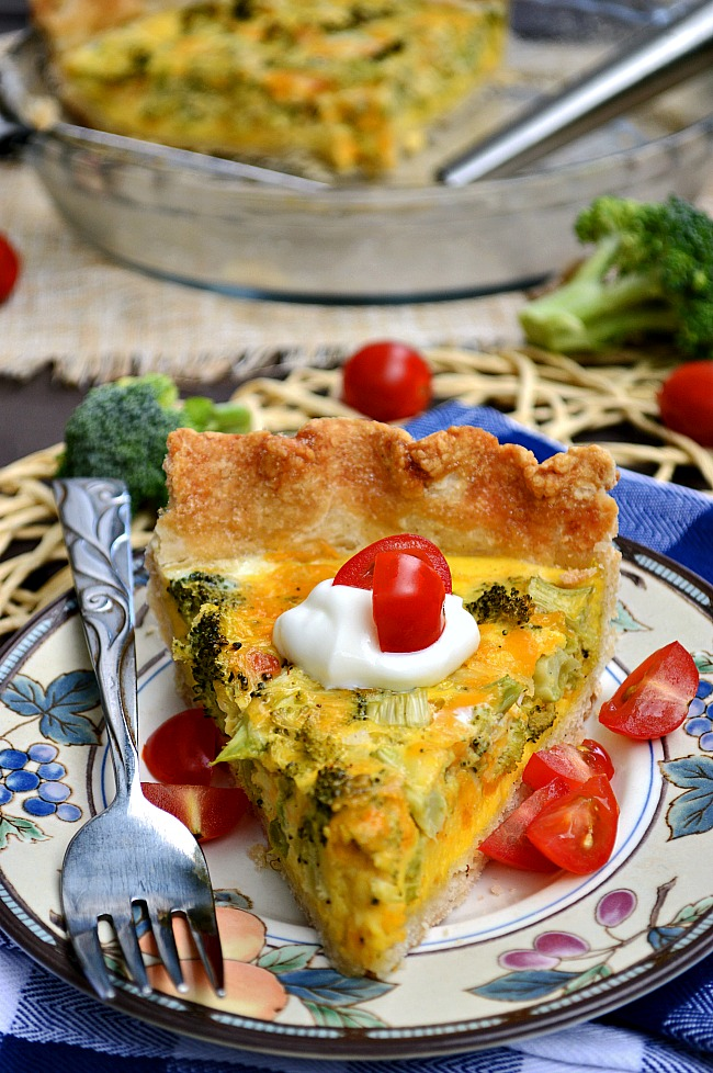 Breakfast, lunch, AND dinner! That is the answer to when is the best time to serve this Gluten Free Broccoli Cheddar Quiche.