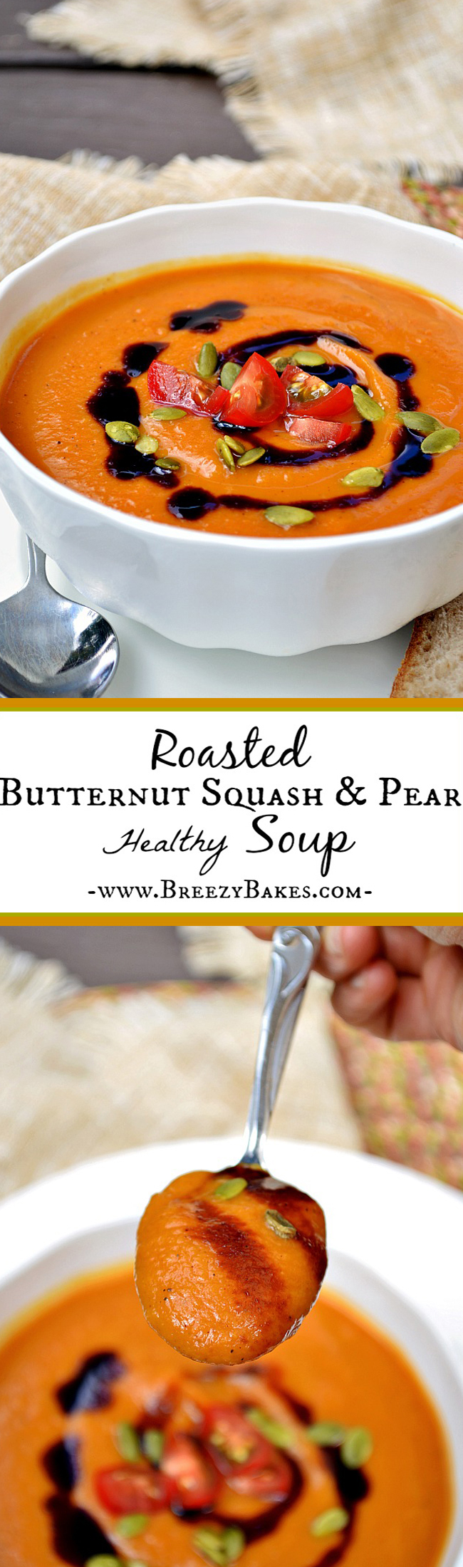 This healthy Roasted Butternut Squash and Pear Soup makes for a comforting and flavorful weeknight meal. It's creamy, robust, and warms you right through. Go ahead and welcome a little fall into your home!