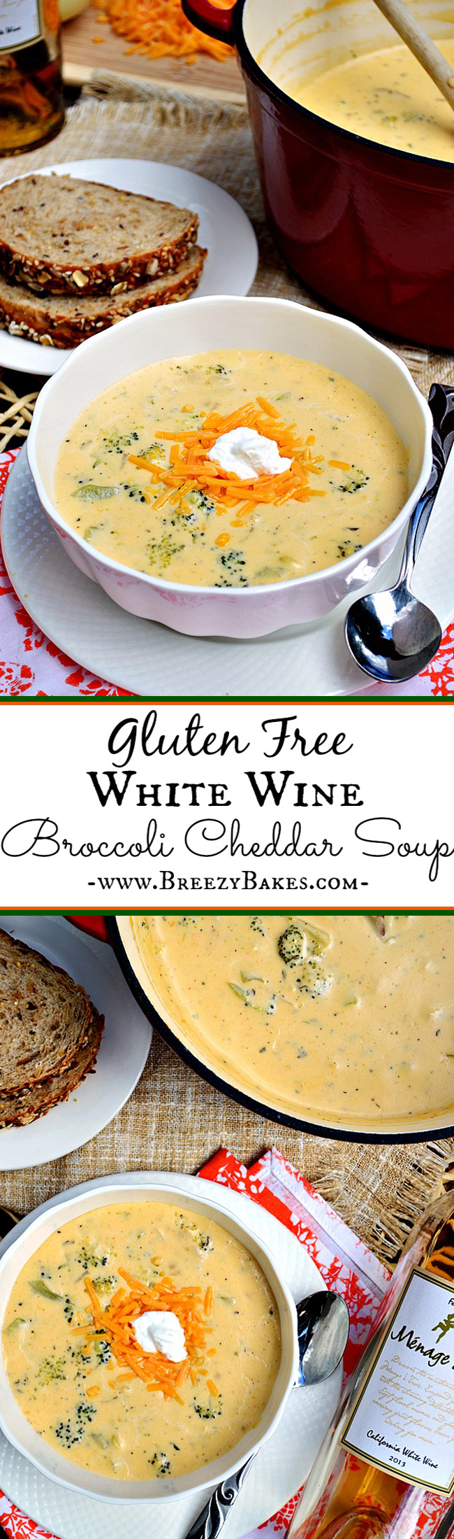 "This Gluten Free Broccoli Cheddar Soup surpasses the description of ""amazing"" and falls right into the category of ""phenomenal""! With a mixture of sharp cheddar and Havarti cheeses, this soup is winning in the creamy department."