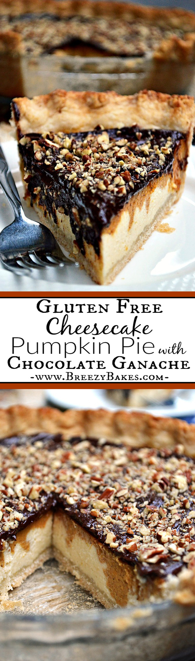 Cheesecake??? Pumpkin Pie??? Chocolate??? If you just can't decide, give this Gluten Free Layered Cheesecake Pumpkin Pie with Chocolate Ganache a whirl. It's sure to please ALL taste buds!