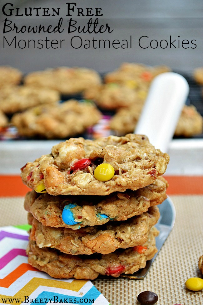There's so much to love in these candy filled oatmeal Gluten Free Browned Butter Monster Cookies. The combination of white chocolate, semi-sweet chocolate, and butterscotch morsels in more than your taste buds can handle!