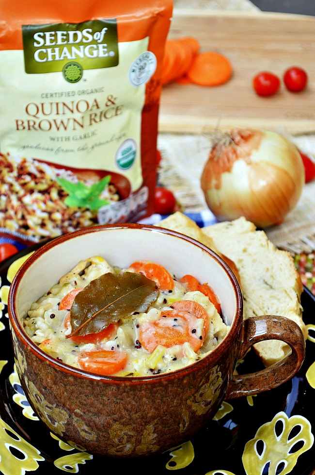 You won't believe how quick and easy this healthy Gluten Free Chicken and Wild Rice Soup is! Plus, it's loaded with lots of veggies and brown rice for a completely whole grain, hearty meal.