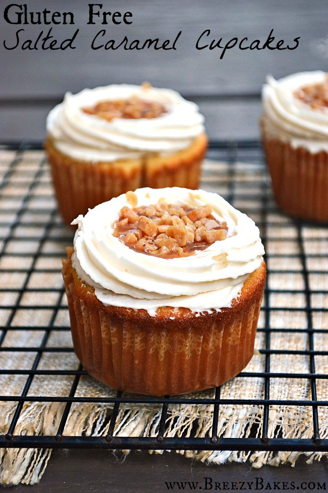 These Gluten Free Salted Caramel Cupcakes are a home run in any ballpark of life! They're the perfect balance of sweet and salty in one hand held little cake.
