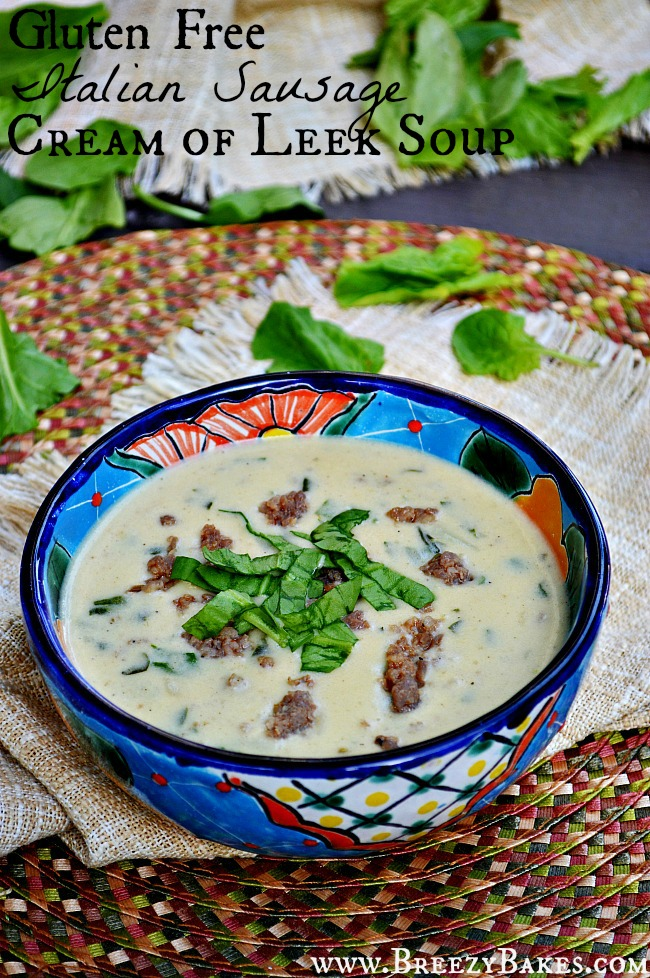 This Gluten Free Italian Sausage and Spinach Cream of Leek Soup has all the flavors that a perfect comfort meal could offer; sausage, potatoes, and spinach in a leek flavored cream base. Mmm, mmm GOOD!