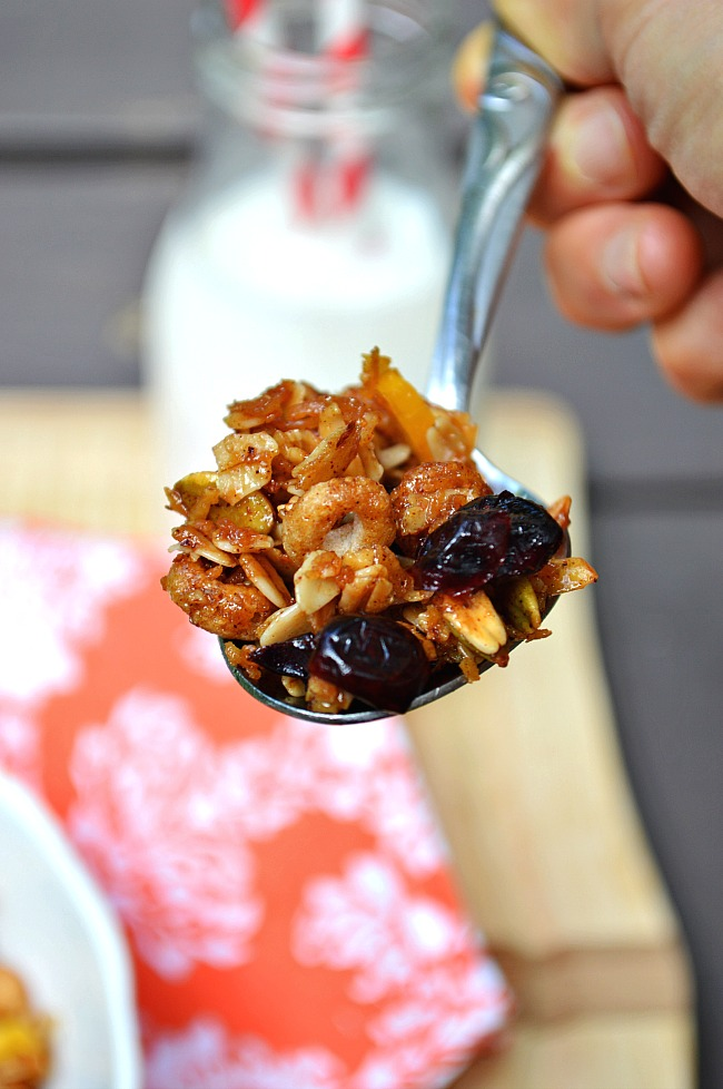 Grab a handful of this naturally sweetened Gluten Free Sunrise Honey Granola for breakfast or an anytime snack. It's sweetened with honey and coconut sugar and tossed with tangy dried fruits like mango and cranberries. Adapt the recipe to your liking!
