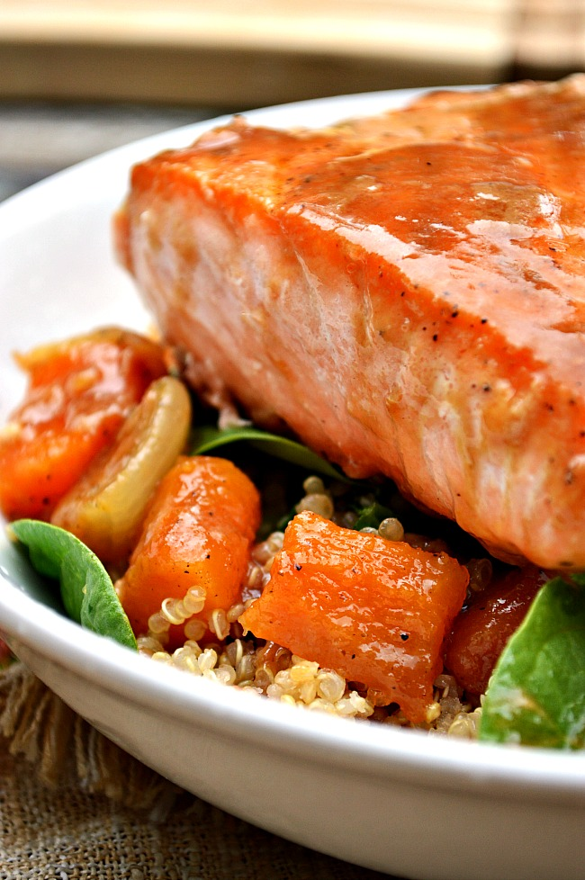Pair succulent glazed salmon with sweet butternut squash in this power food healthy dinner of Gluten Free Worcestershire Brown Sugar Glazed Salmon with Roasted Butternut Squash. Quinoa and spinach leaves add extra nutrition and a balance of flavors.