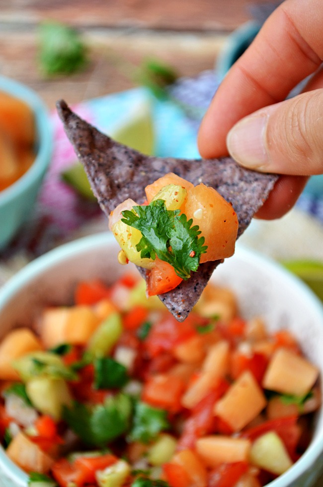 Cool off with this great addition to any taco, nacho, or southwest salad! Move over watermelon salsa because there is a new melon in town. Go ahead and give this Cantaloupe Cucumber Lime Salsa and try and fall deeply in love.