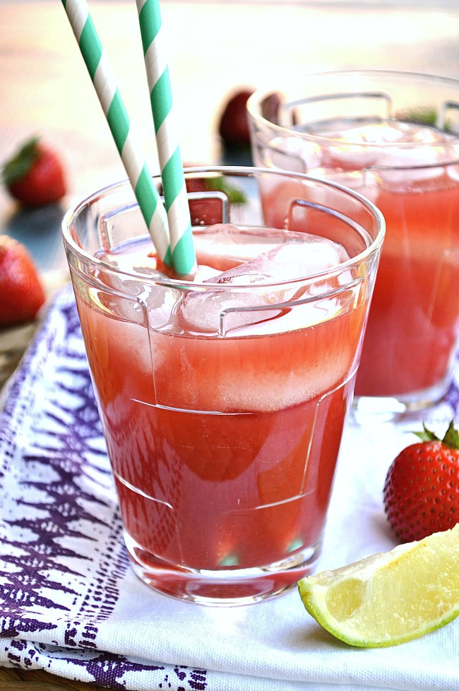 Stay hydrated with a glassful of this intensely refreshing Watermelon Strawberry Lime Juice. It's a perfect and healthy way to use up all that cool, crisp watermelon.