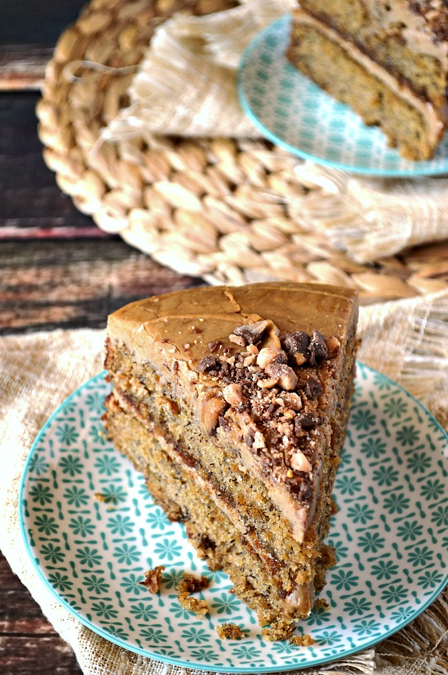 Enjoy the warm caramely flavors of this rich Gluten Free Brown Sugar Banana Cake with Cinnamon Penuche Frosting. Cinnamon, brown sugar, and banana come together in one perfectly decadent dessert.
