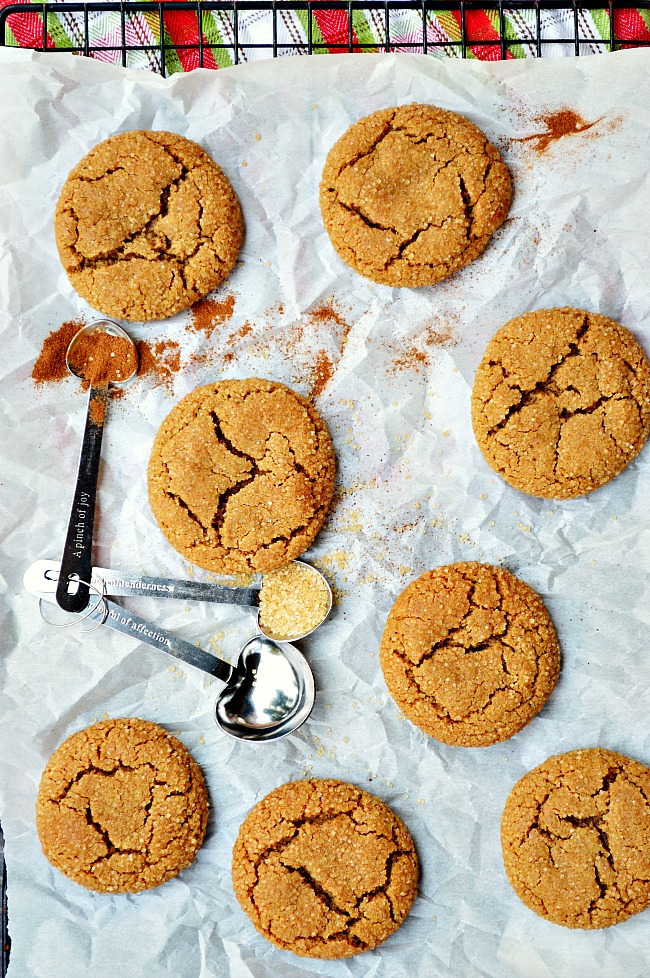 Christmas is in these Gluten Free Ginger Molasses Cookies. Cinnamon, nutmeg, and molasses give these cookies their warm and cozy flavor!