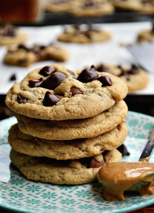 You'll be swatting all hands away from these Gluten Free Peanut Butter Chocolate Chip Cookies.Think of a chewy chocolate chip cookie with a hint of peanut butter, bursting with three different types of chocolate chips. Are you sold yet?!