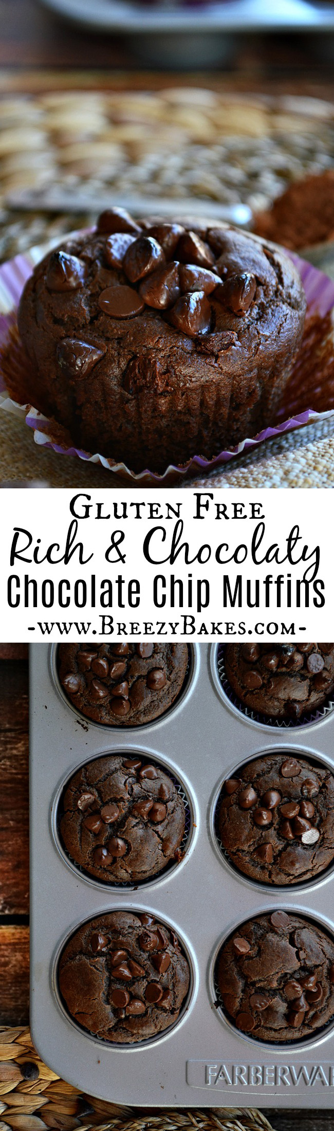 Greet the morning with these perfectly sweet Gluten Free Dark Chocolate Muffins. With a scoop of cocoa powder, a shot of instant coffee granules, and a handful of dark chocolate chips, these muffins are full of rich chocolate flavor.